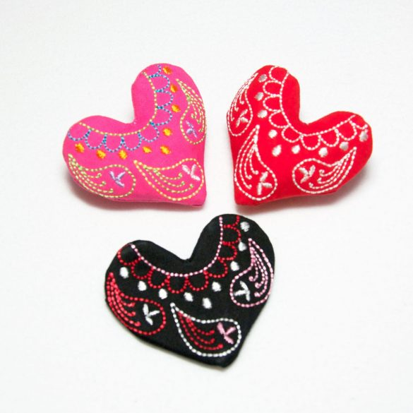 Embroided Heart Pin