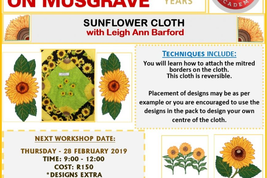 Sunflower Cloth – Machine embroidery Workshop with Leigh Ann Barford